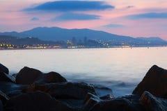 Morgenansicht der Stadt in Mittelmeer Stockbilder