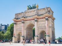 Morgenansicht schönen Arc de Triomphe s du Carrousel in Paris stockbild