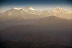 Morgenansicht und Sonnenaufgang von Himalaja: Sarangkot Stockfotos