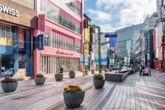 Morgenansicht von Gwangbokro kulturell und von Mode-Straße, Busan lizenzfreies stockfoto