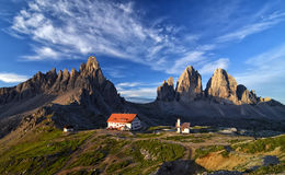 Morgenansicht von Tre Cime di Lavaredo Stockbilder