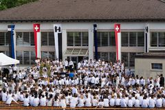 Morgenfeier en Jugendfest Brugg Impressionen imagen de archivo libre de regalías