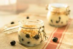 Morgenfrühstück mit Kiefernnüssen, Blaubeeren und Jogurtnahaufnahme Stockbild