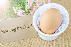 Morgenfrühstück und -ei Stockfotos