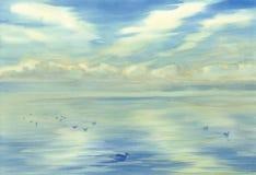 Morgenhimmel-Wolkenreflexionen auf Wasseraquarell Stockbild