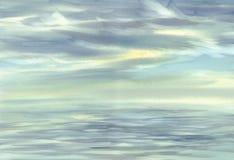 Morgenhimmel-Wolkenreflexionen auf Wasseraquarell Lizenzfreie Stockfotos