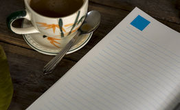 Morgenkaffee Buch Diary1 Stockbild