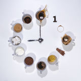 Morgenkaffeeuhr Stockfotografie