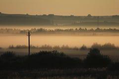 Morgenlandschaft im starken Nebel des Sommers Lizenzfreies Stockfoto