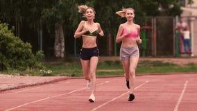 Morgenlauf von zwei jungen Frauen stock footage