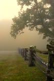 Morgennebel auf Zaun der aufgeteilten Schiene Stockbild