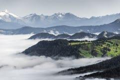 Morgennebel im Tal, Dolomiti Stockfotos