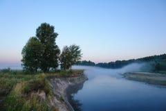 Morgennebel sieht wie eine Brücke aus Stockfotografie