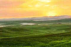 Morgennebelansicht über Ackerland in Toskana, Italien Lizenzfreie Stockfotografie
