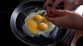 Morgens bereitet das Mädchen Frühstück zu Hause in der Küche, bricht Eier in einer Bratpfanne zu Nahaufnahme Kochen von Eiern stock video