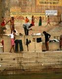 Morgenszene in dem Ganges-Fluss Stockbild