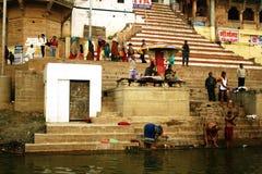 Morgenszene in dem Ganges-Fluss. Lizenzfreies Stockbild