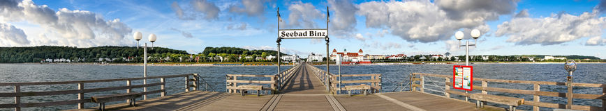 Morgenszene am Pier in Binz (Ruegen) Stockbild