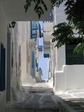 Morgenweg, Mykonos, Griechenland Lizenzfreie Stockfotos