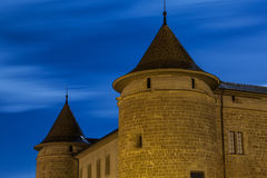 Morges Castle, Morges, Switzerland. Night view of the historic Morges Castle, in Morges, Switzerland. Morges Château was first constructed in 1286 under the Royalty Free Stock Photo