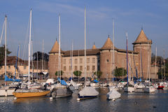 Morges Castle in Switzerland. A view of Morges Castle, from Switzerland, seen from the harbor Stock Images