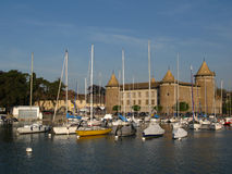 Morges port and Chateau 02, Switzerland. In the vicinity of Lausanne, on Lake Geneva, the town of Morges is another lovely stop along the Swiss Riviera. An Stock Photo