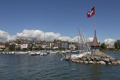 Morges - Switzerland. The harbor in the town of Morges on the north shore of Lake Geneva in the Vaud canton of Switzerland stock photography