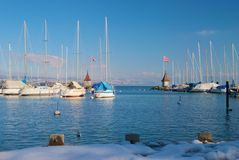Morges, Switzerland. Morges harbor in winter, Switzerland Stock Images