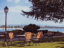 Morges view. Sitting by the lake Royalty Free Stock Image