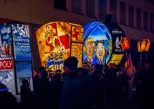 Morgenstraich at Basler Fasnacht, Basel, Switzerland. Morgestraich, carnival procession at night, Basler Fasnacht, Carnival of Basel, Basel, canton Basel royalty free stock image