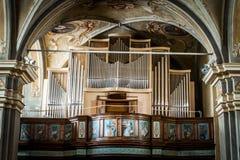 Morgex: Detail der Pfeifenorgel im ` Chiesa-Di Santa Maria Assunta-` im Februar 2017 Lizenzfreie Stockfotografie