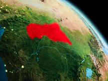 Morgon över centrala Afrika på jord Royaltyfria Bilder