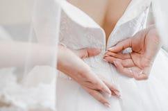 Morgon av bruden, makeup, härlig brud Royaltyfria Bilder