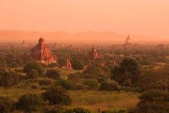 Morgon av den forntida Baganen, Myanmar Burma arkivfoto