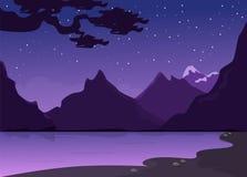 Morgon- eller aftonlandskap med floden och berget stock illustrationer
