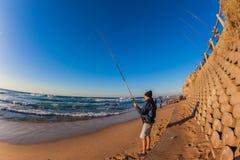 Morgon för fiskarestrandbränning  Royaltyfria Bilder
