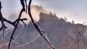 Morgon för hög öken för höstdimma frostig Royaltyfri Fotografi