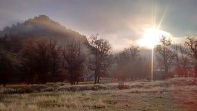 Morgon för hög öken för höstdimma frostig royaltyfri bild