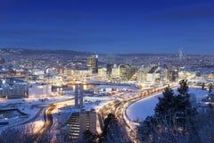 Morgon för Oslo horisontvinter arkivbilder