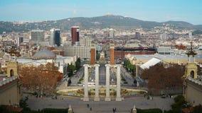 Morgon i Barcelona Plaza de Espana, Plaza av Spanien, tidschackningsperiod barcelona spain stock video