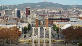 Morgon i Barcelona Plaza de Espana, Plaza av Spanien, tidschackningsperiod barcelona spain arkivfilmer