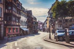 Morgon i Colmar, gammal medeltida stad i den Alsace regionen i Frankrike Arkivbild