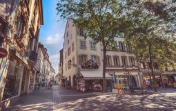 Morgon i Colmar, gammal medeltida stad i den Alsace regionen i Frankrike Royaltyfria Foton