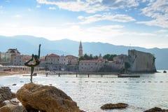 Morgon i gammal stad av Budva Montenegro Balkans, Europa Arkivbild