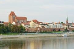 Morgon i gammal stad av Torun, Polen Arkivfoto