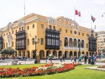 Morgon i Lima Main Square Arkivfoton