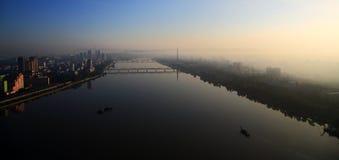 Morgon i Pyongyang, Nordkorea Fotografering för Bildbyråer