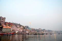Morgon i Varanasi, Rajasthan, Indien Royaltyfri Fotografi
