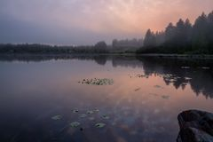 Morgon ner på sjön med dimma Royaltyfri Fotografi