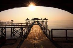 Morgon på den Kenjeran stranden, Surabaya Indonesien arkivbild